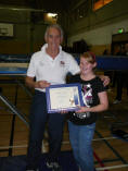 Annalie Collins receiving Jack Petchey from Jack Kelly