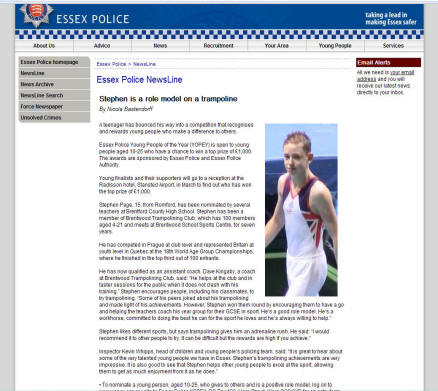 Screen print of article on Essex Police website