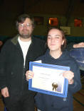 Laura Studd receiving Jack Petchey from Phil Gibbs