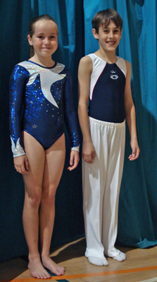 Club leotards modelled by Thea and Joe